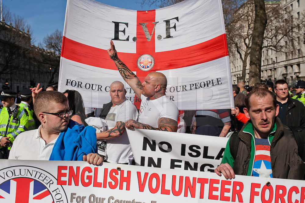 © Licensed to London News Pictures. 15/03/2014. London, UK. Fascist group E.V.F. march to Parliament Square. Photo credit : Andrea Baldo/LNP