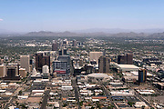 General overall aerial view of the downtown Phoenix skyline and Talking Stick Resort Arena, Thursday, Aug. 15, 2019.