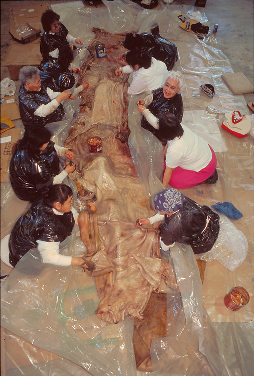 Alaska . Barrow . Women work together to sew the seal skin cover for the waling vessels .