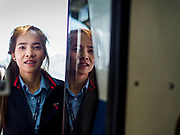 06 DECEMBER 2018 - SAMUT PRAKAN, THAILAND:  A BTS Skytrain driver signals that he is about to leave the Kheha station on the new expansion of the BTS. Kheha is the last station on the line. The 12.6 kilometer (7.8 miles) east extension of the Sukhumvit Line of the Bangkok BTS Skytrain goes into Samut Prakan, a town east of Bangkok.  The system is now 51 kilometers long (32 miles), including the 12.6 kilometer extension that opened December 06. About 900,000 people per day use the BTS.       PHOTO BY JACK KURTZ