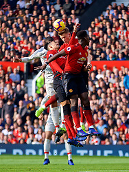 MANCHESTER, ENGLAND - Sunday, February 24, 2019: Manchester United's Chris Smalling (L), Scott McTominay (C) and Paul Pogba (R) during the FA Premier League match between Manchester United FC and Liverpool FC at Old Trafford. (Pic by David Rawcliffe/Propaganda)