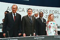 27 APR 2000, BERLIN/GERMANY:<br /> Jürgen E. Schrempp, Vorstandsvorsitzender DaimlerChrysler AG und Vorsitzender SAFRI, Gerhard Schröder, SPD, Bundeskanzler, Joaquim Alberto Chissano, President Rep. Mosambik, Bianca Buchmann, Afrika-Verein, auf dem Podium des Africa-Business Forum 2000 von Afrika-Verein und SAFRI - Southern Africa Initiative of German Business, debis Haus, Potsdamer Platz<br /> Juergen E. Schrempp, CEO of DaimlerChrysler and Chairman of SAFRI, Gerhard Schroeder, Federal Chancellor Germany, Joaquim Alberto Chissano, President Rep. Mozambique, and Bianca Buchmann, Afrika-Verein, Africa-Business Forum 2000<br /> IMAGE: 20000427-01/01-12