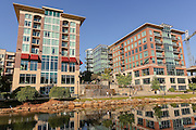 Art Crossing and River Place development on the Reedy River in downtown Greenville, South Carolina.
