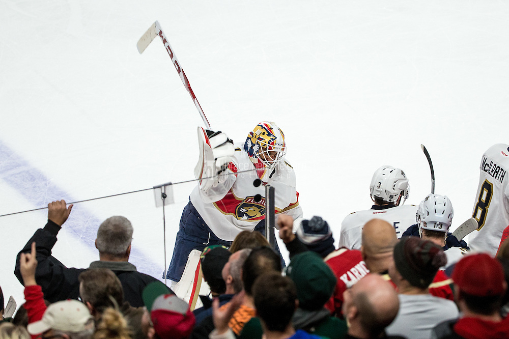 Dec 13, 2016; Saint Paul, MN, USA; Florida Panthers goalie Roberto Luongo (1) reacts after being pulled from the game during the third period against the Minnesota Wild at Xcel Energy Center. The Wild defeated the Panthers 5-1. Mandatory Credit: Brace Hemmelgarn-USA TODAY Sports