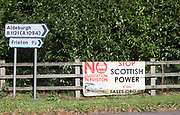 Roadside protest banner against Scottish Power plant for electricity substation at Friston, Suffolk, England, UK