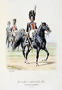 Royal Mounted Grenadier Officer, 1814-1815. From 'Histoire de la maison militaire du Roi de 1814 a 1830' by Eugene Titeux, Paris, 1890.