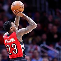 27 December 2014: Toronto Raptors guard Louis Williams (23) takes a jump shot during the Toronto Raptors 110-98 victory over the Los Angeles Clippers, at the Staples Center, Los Angeles, California, USA.