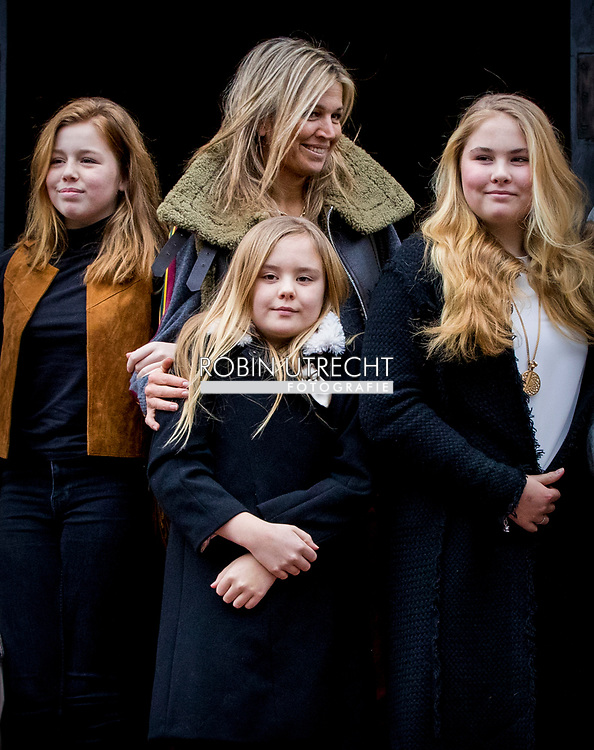 3-2-2018 AMSTERDAM - King Willem Alexander and queen Maxima and princess Amalia Ariane and Alexia arrives at the Royal Palace on Dam Square for the birthday reception of Princess Beatrix. The princess celebrates her 80th birthday in private. ROBIN UTRECHT