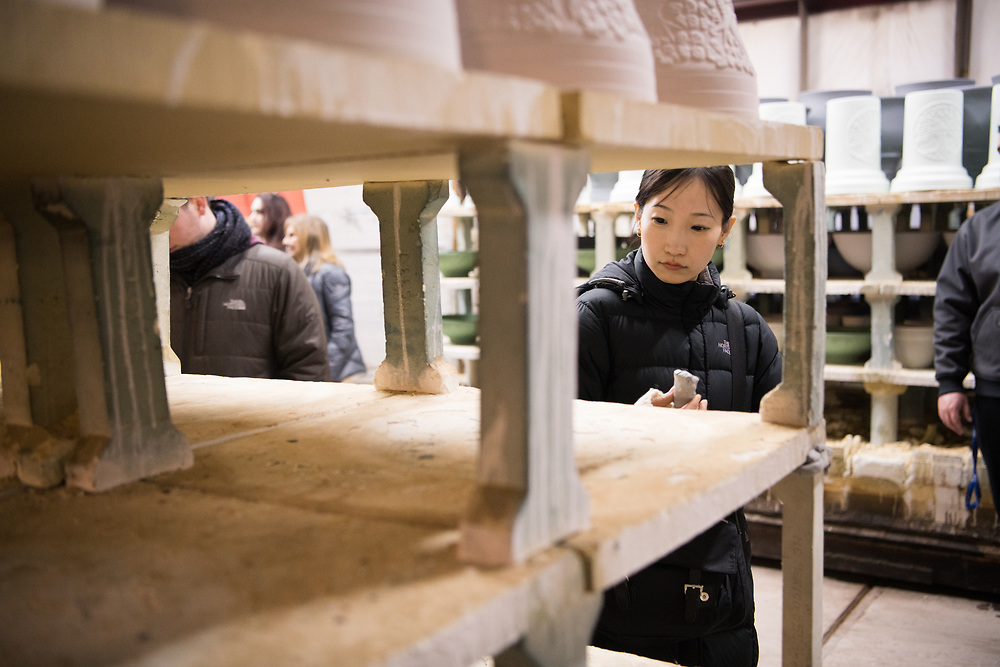 College of Fine Arts students tour Burley Clay's manufacturing facillity in Roseville. Photo by Ben Siegel