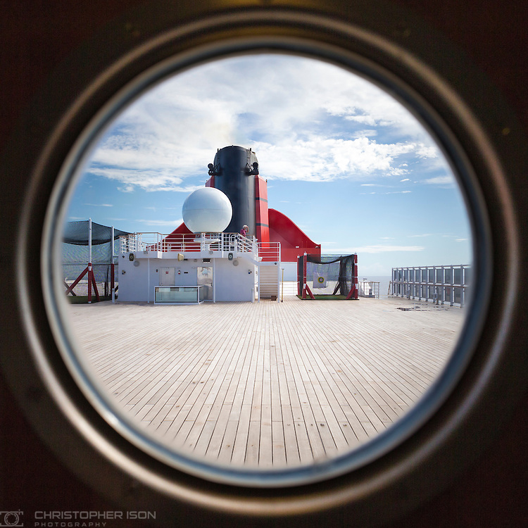 The Sun Deck and funnel on board Cunard's Queen Mary 2.<br /> Picture date: Wednesday September 7, 2016.<br /> Photograph by Christopher Ison &copy;<br /> 07544044177<br /> chris@christopherison.com<br /> www.christopherison.com