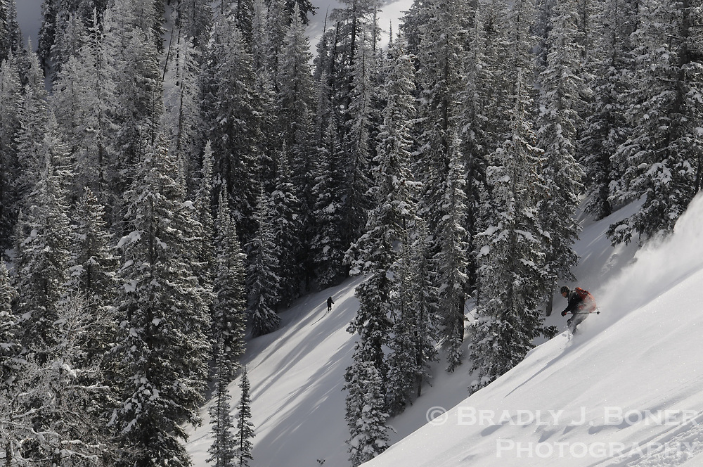 John Griber skiing on the south side of Teton Pass