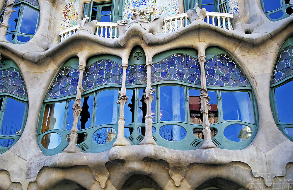 "Casa Batlló is a building on the Illa de la Discòrdia (the ""Block of Discord"") in the Eixample district of Barcelona, Spain. It was restored in part by Antoni Gaudi."