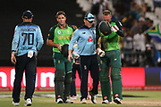 Eoin Morgan (Capt) between the winning South African batsmen JJ Smuts & Rassie van der Dussen during the One Day International match between South Africa and England at PPC Newlands, Capetown, South Africa on 4 February 2020.