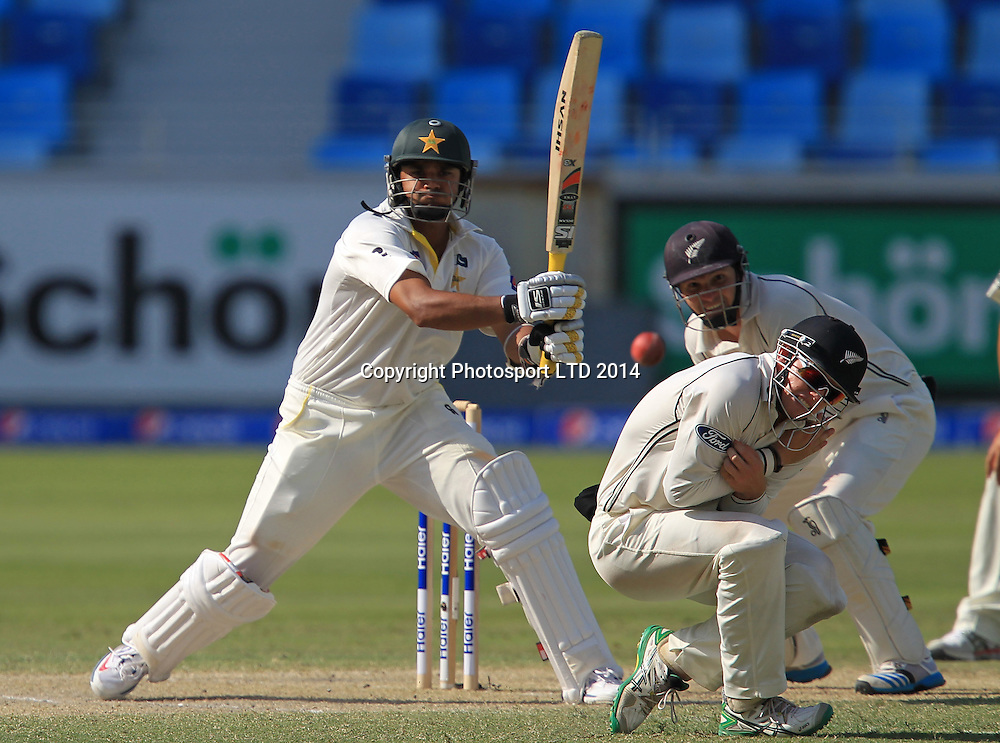 Pakistan vs New Zealand, 19 November 2014 <br /> Azhar Ali plays a shot on the third day of second test in Dubai