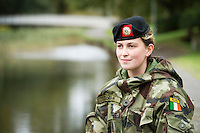 21 year old and youngest soldier heading to the Golan Heights Private Rebecca Coogan at the ceremony at the Cathedral in Galway before deployment to the Golan Heights in Syria. Photo:Andrew Downes, XPOSURE