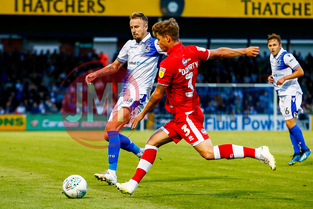 Chris Lines of Bristol Rovers challenges Josh Doherty of Crawley Town  - Mandatory by-line: Ryan Hiscott/JMP - 14/08/2018 - FOOTBALL - Memorial Stadium - Bristol, England - Bristol Rovers v Crawley Town - Carabao Cup