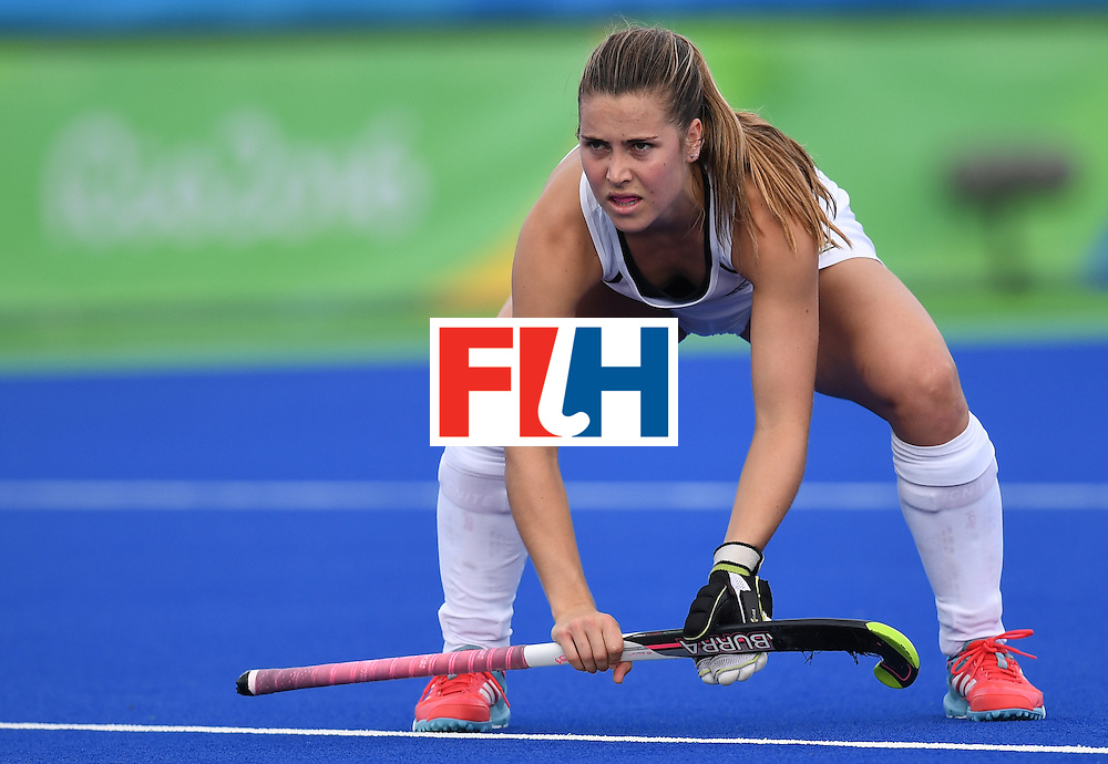New Zealand's Rose Keddell looks on during the women's field hockey New Zealand vs Germany match of the Rio 2016 Olympics Games at the Olympic Hockey Centre in Rio de Janeiro on August, 8 2016. / AFP / MANAN VATSYAYANA        (Photo credit should read MANAN VATSYAYANA/AFP/Getty Images)