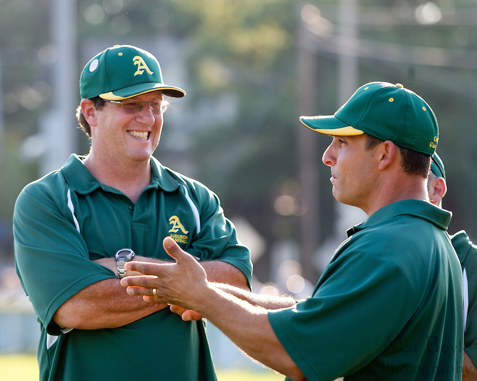 Audubon coaches talk before the District 14 Little League final against Erial held in Gloucester on Wednesday July 13th.