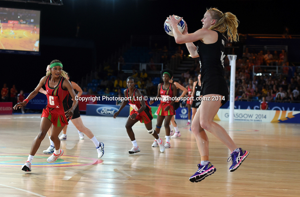 Shannon Francois of the Silver Ferns during a Netball Preliminary Group A match against Malawi.  Glasgow Commonwealth Games. Scottish Exhibition Conference Centre, Glasgow, Scotland. Friday 25 July 2014. Photo: Andrew Cornaga/www.Photosport.co.nz