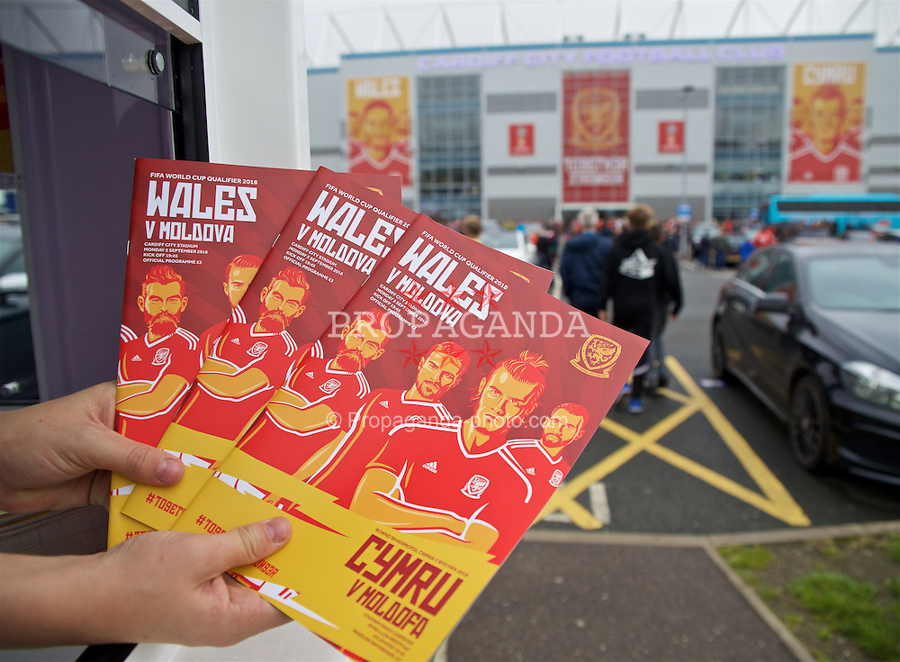 CARDIFF, WALES - Monday, September 5, 2016: Match-day programmes on sale before the 2018 FIFA World Cup Qualifying Group D match against Moldova at the Cardiff City Stadium. (Pic by David Rawcliffe/Propaganda)
