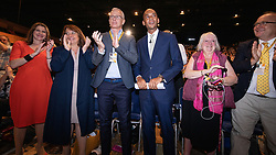 © Licensed to London News Pictures . CORRECT DATE: 16/09/2019. Bournemouth, UK. JO SWINSON , BRIAN PADDICK , CHUKA UMUNNA in the conference hall after UMUNNA delivers his conference speech . The Liberal Democrat Party Conference at the Bournemouth International Centre . Photo credit: Joel Goodman/LNP