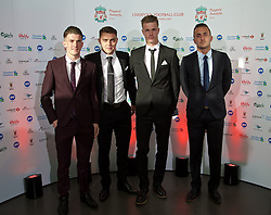 LIVERPOOL, ENGLAND - Tuesday, May 19, 2015: Liverpool youth team players Daniel Trickett-Smith, Connor Randall, Daniel Cleary and Samed Yesil arrive on the red carpet for the Liverpool FC Players' Awards Dinner 2015 at the Liverpool Arena. (Pic by David Rawcliffe/Propaganda)