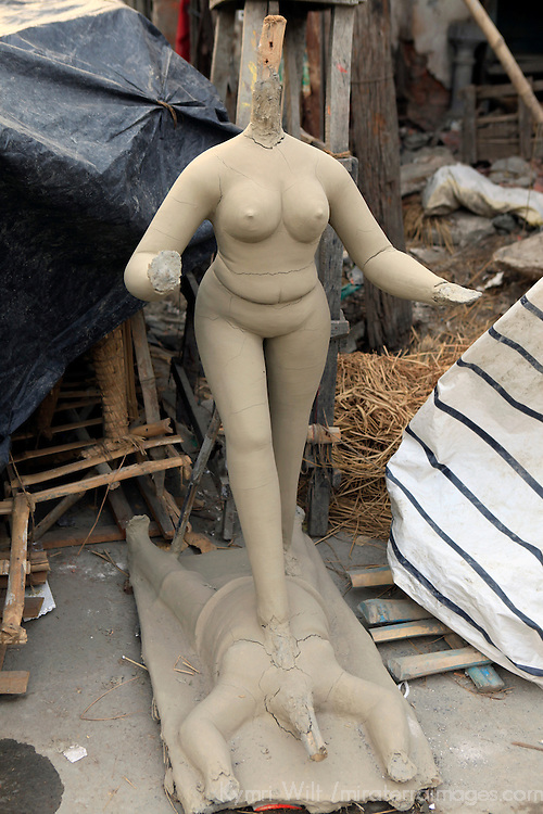 Asia, India, Calcutta. Clay sculptures at the potter's village of Kumartuli in Calcutta.