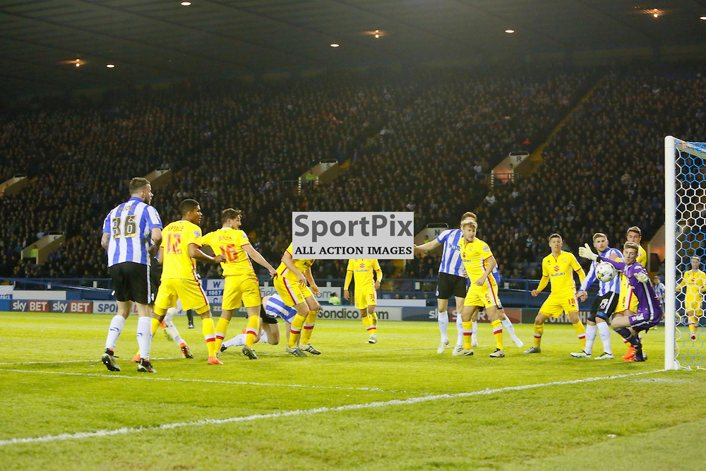 MK Dons players watch Atdhe Nuhiu heads onto the post during Sheffield Wednesday v Milton Keynes Dons, SkyBet Championship, Tuesday 19th April 2016, Hilsborough, Sheffield