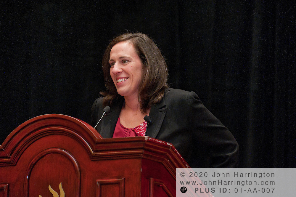 Carrie Burns, Editor, INN, and event moderator gives a presentation at the Women in Insurance Leadership Forum at the National Harbor in Maryland on September 18th, 2011.