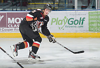 KELOWNA, CANADA, JANUARY 1: Kenton Helgesen #3 of the Calgary Hitmen skates on the ice as the Calgary Hitmen visit the Kelowna Rockets on January 1, 2012 at Prospera Place in Kelowna, British Columbia, Canada (Photo by Marissa Baecker/Getty Images) *** Local Caption ***