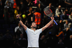 November 17, 2017 - London, England, United Kingdom - Grigor Dimitrov of Bulgaria celebrates victory in his Singles match against Pablo Carreno Busta of Spain during day six of the Nitto ATP World Tour Finals at O2 Arena on November 17, 2017 in London, England. (Credit Image: © Alberto Pezzali/NurPhoto via ZUMA Press)