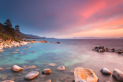 """Tahoe Boulders at Sunset 12"" - Photograph taken at sunset of boulders near Hidden Beach, Lake Tahoe."