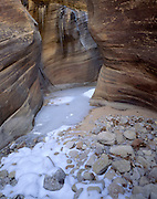 Slot Canyon, Sandstone Canyon, Canyon, Sandstone, Winter, Ice, Snow, Zion, Zion National Park, Utah