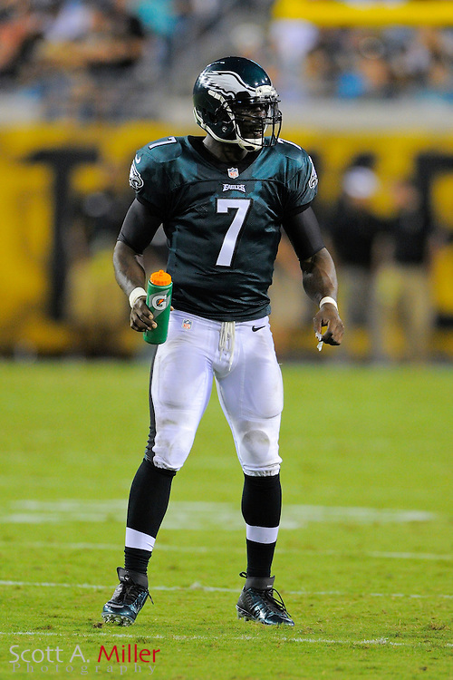 Philadelphia Eagles quarterback Michael Vick (7) with a Gatorade water bottle during a preseason NFL game against the Jacksonville Jaguars at EverBank Field on Aug. 24, 2013 in Jacksonville, Florida. The Eagles won 31-24.<br /> <br /> &copy;2013 Scott A. Miller