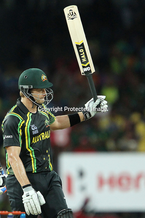 Shane Watson celebrates his fifty during the ICC World Twenty20 Super 8s match between Australia and South Africa held at the Premadasa Stadium in Colombo, Sri Lanka on the 30th September 2012<br /> <br /> Photo by Ron Gaunt/SPORTZPICS