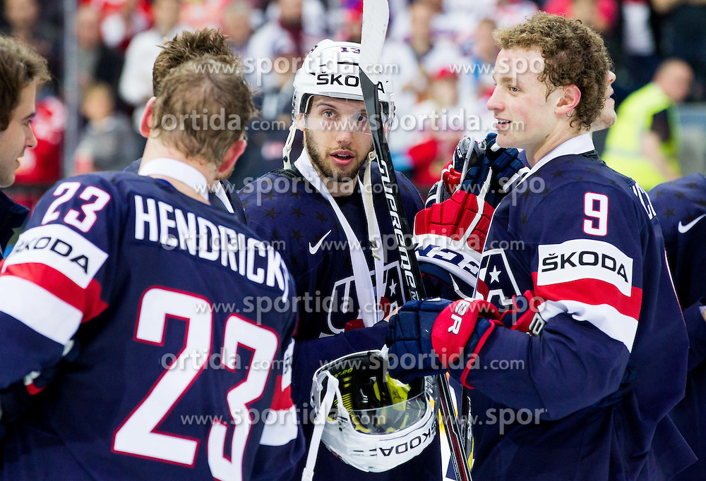 Matt Hendricks of USA, Nick Bonino of USA and Jack Eichel of USA with bronze medals after winning during Ice Hockey match between USA and Czech Republic at Third place game of 2015 IIHF World Championship, on May 17, 2015 in O2 Arena, Prague, Czech Republic. Photo by Vid Ponikvar / Sportida