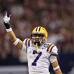Jan 9, 2012; New Orleans, LA, USA; LSU Tigers cornerback Tyrann Mathieu (7) against the Alabama Crimson Tide during the first half of the 2012 BCS National Championship game at the Mercedes-Benz Superdome.  Mandatory Credit: Derick E. Hingle-US PRESSWIRE