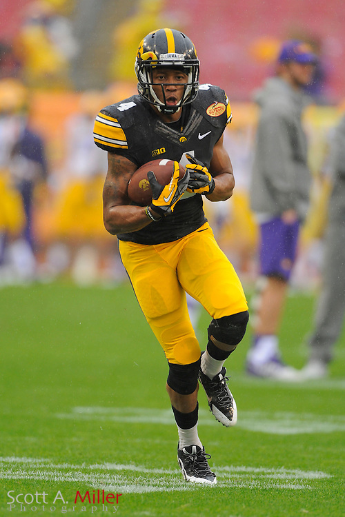 Iowa Hawkeyes wide receiver Tevaun Smith (4) prior to the 2014 Outback Bowl at Raymond James Stadium on Jan. 1, 2014 in Tampa, Florida. <br /> <br /> &copy;2014 Scott A. Miller