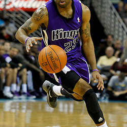 February 6, 2012; New Orleans, LA, USA; Sacramento Kings guard Marcus Thornton (23) against the New Orleans Hornets during the second half of a game at the New Orleans Arena. The Kings defeated the Hornets 100-92.  Mandatory Credit: Derick E. Hingle-US PRESSWIRE