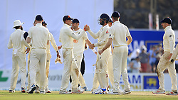 November 9, 2018 - Galle, Sri Lanka - England cricketers led by captain Joe Root celebrate their victory over the Sri Lankan cricket team during the 4th day's play of the first test cricket match between Sri Lanka and England at Galle International cricket stadium, Galle, Sri Lanka. 11-09-2018  (Credit Image: © Tharaka Basnayaka/NurPhoto via ZUMA Press)