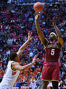 SAN DIEGO, CA - MARCH 16:  Charleston Cougars forward Jarrell Brantley (5) shoots against Auburn Tigers forward Desean Murray (13) during a first round game of the Men's NCAA Basketball Tournament at Viejas Arena in San Diego, California. Auburn won 62-58.  (Photo by Sam Wasson)