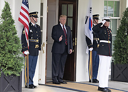 United States President Donald J. Trump gestures towards the assembled press as he prepares to welcome President Moon Jae-in of South Korea for talks at the White House in Washington, DC, USA on Tuesday, May 22, 2018. The two leaders are meeting ahead of President Trump's scheduled summit with Kim Jung-un of North Korea which is tentatively scheduled for June 12, 2018 in Singapore. Photo by Ron Sachs/CNP/ABACAPRESS.COM