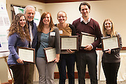 Debra Walter, Elizabeth Jensen, Alison Brittain, Ian Ackers, and Ashley Patton pose for a photo with Dr. John Kopchick after recieving their John J. Kopchick Molecular and Cellular Biology Translational Biomedical Sciences Research Fellowship Award