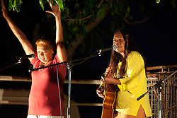 Singer Kerri-anne Cox and her mother address the crowd at an anti-gas rally held at Broome's town beach on Saturday 16th October 2010.