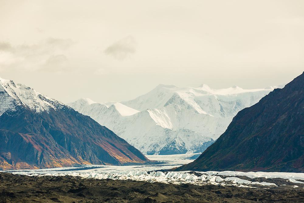 The Matanuska Glacier winds its way down the Chugach  Mountains of Southcentral Alaska. Autumn. Afternoon.
