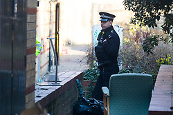 © Licensed to London News Pictures. 26/02/2019. London, UK.  The crime scene at Globe Road in Tower Hamlets this morning. Police were called at 14:35 yesterday, 25th February to Globe Road following reports of a fight in progress where a man thought to be aged in his mid 20's or 30's was discovered with stab wounds and later pronounced dead at the scene..  Photo credit: Vickie Flores/LNP