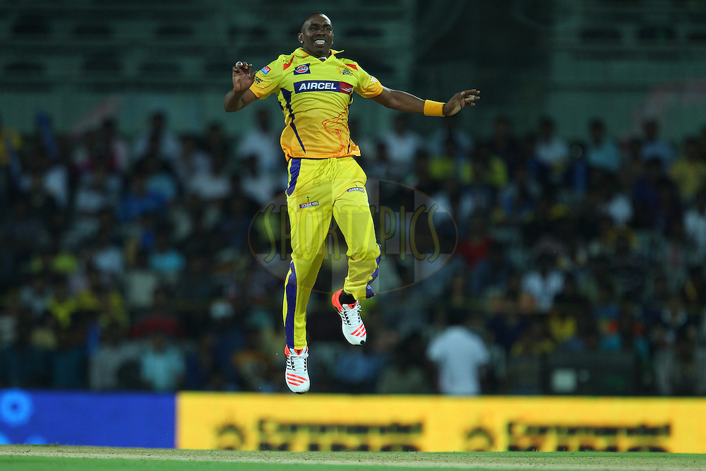 Dwayne Bravo of the Chennai Superkings reacts after a delivery during match 2 of the Pepsi IPL 2015 (Indian Premier League) between The Chennai Superkings and The Delhi Daredevils held at the M. A. Chidambaram Stadium, Chennai Stadium in Chennai, India on the 9th April 2015.<br /> <br /> Photo by:  Ron Gaunt / SPORTZPICS / IPL