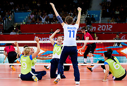 Stefka Tomic of Slovenia, Danica Gosnak of Slovenia, Sasa Kotnik of Slovenia, Lena Gabrscek of Slovenia, Suzana Ocepek of Slovenia during 5th - 8th place sitting volleyball match between National teams of Slovenia and Japan during Day 7 of the Summer Paralympic Games London 2012 on September 4, 2012, in ExCel Exhibition centre, London, Great Britain. Slovenia defeated Japan 3-0. (Photo by Vid Ponikvar / Sportida.com)