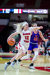 NORMAL, IL - January 05: Cameron Call gets past defender Jossie Hudson during a college women's basketball game between the ISU Redbirds and the Purple Aces of University of Evansville January 05 2020 at Redbird Arena in Normal, IL. (Photo by Alan Look)
