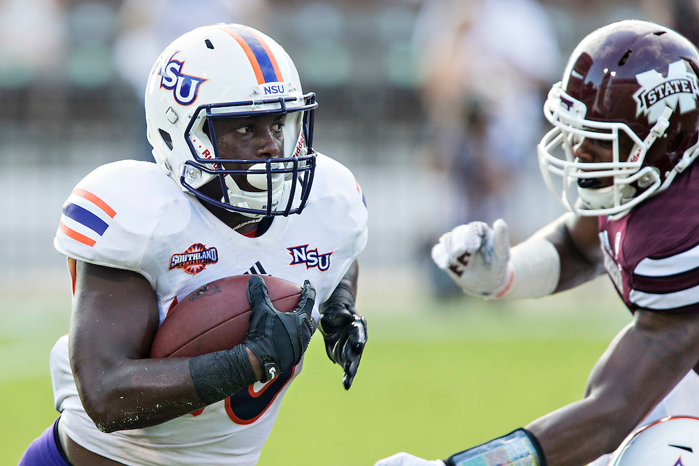 STARKVILLE, MS - SEPTEMBER 19:  Chris Jones #20 of the Northwestern State Demons runs the ball against the Mississippi State Bulldogs at Davis Wade Stadium on September 19, 2015 in Starkville, Mississippi.  The Bulldogs defeated the Demons 62-13.  (Photo by Wesley Hitt/Getty Images) *** Local Caption *** Chris Jones